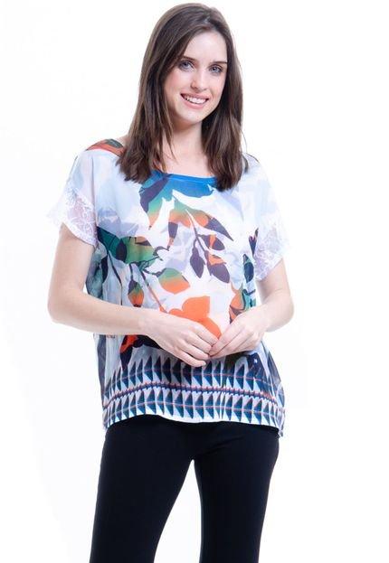 101 Resort Wear Blusa 101 Resort Wear Tunica Crepe Renda Estampada Flores Bicolor 0qHIG