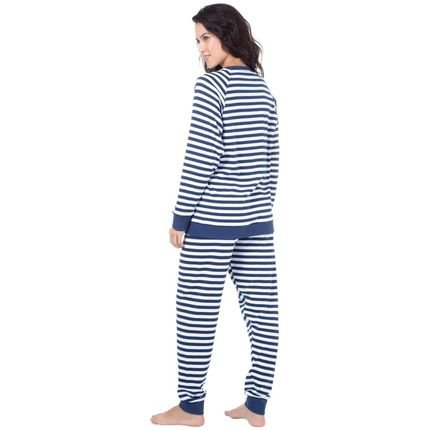 Marcyn Lingerie Pijama Longo Suedine Homewear Azul - 589.0710 Marcyn Lingerie PIJAMAS Azul