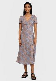 Vestido MISSGUIDED Half Button Midi Tea Dress Ss Floral Dresses  Morado - Calce Regular