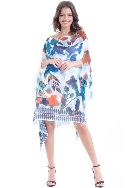 101 Resort Wear Kaftan 101 Resort Wear Vestido Plus Size Crepe Estampado Floral Azul Laranja udR0h
