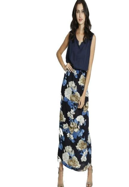 BON Vestido BON Longo Floral Com Babado Azul rxnxe