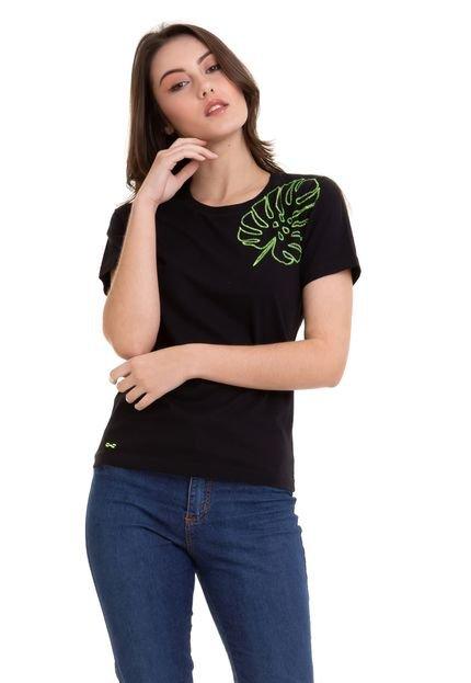 Hifen Camiseta Com Bordado Flores Preto 0UcVG