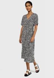 Vestido MISSGUIDED Button Thru Smock Midi Dress Dalmatian Negro - Calce Regular
