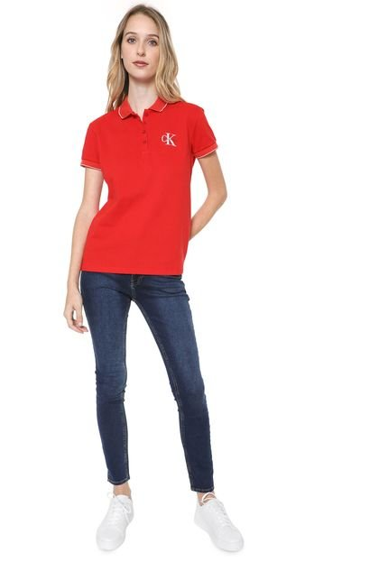 Calvin Klein Jeans Camisa Polo Calvin Klein Jeans Logo Vermelha