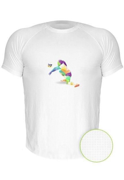 Camiseta Manga Curta Nerderia Volei Geometrico Branco