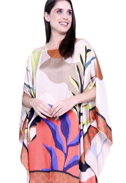 101 Resort Wear Kaftan 101 Resort Wear Vestido Cetim Estampado Folhas Marrom Laranja 9QuMG