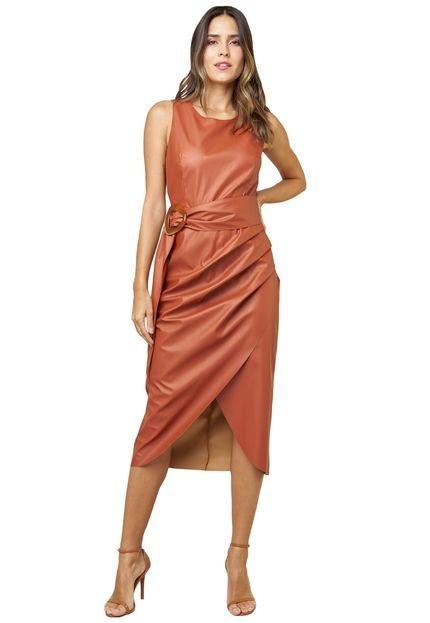 MX Fashion Vestido MX Fashion Midi com Pregas na Saia Verona Ferrugem qysIs