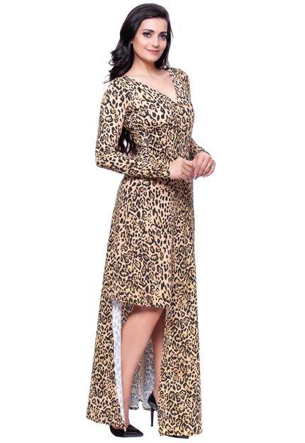 Gisele Santana Vestido Longo Gisele Santana Animal Print Onça JhbnM