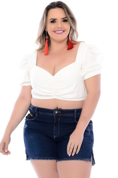 Join Curves Top Cropped Plus Size Princesa Off White Join Curves H55vB