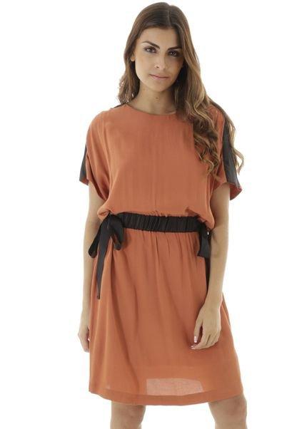 AHA Vestido curto liso com manga ampla e laço para amarração na cintura L0zTe