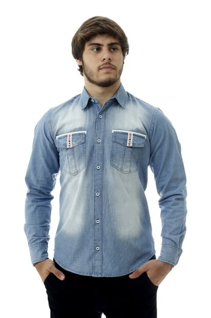 Camisa Laos Jeans Slim Fit Manga Longa Det Azul