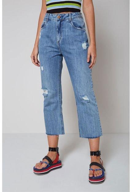 Oh  Boy! Calça Jeans Oh  Boy! Bainha a Fio Azul VF6SB