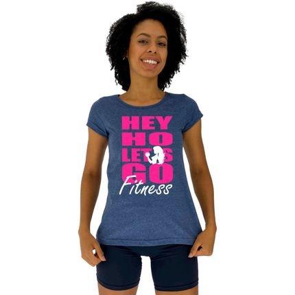 Alto Conceito Camisa Babylook Alto Conceito Hey Ho Let's Go Fitness Mescla Marinho e8CBu