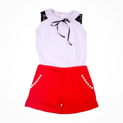 Liminha Doce Shorts Liminha Doce Vermelho e Blusa Branca 875x2