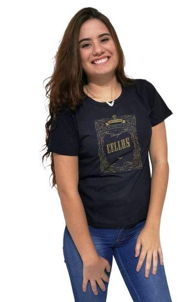 Cellos Camiseta Feminina Cellos Retro Frame Premium Preto hzBbO