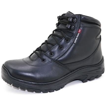 Atron Shoes Bota Coturno Militar Couro Cano Baixo Macio Conforto Casual Preto olHQg