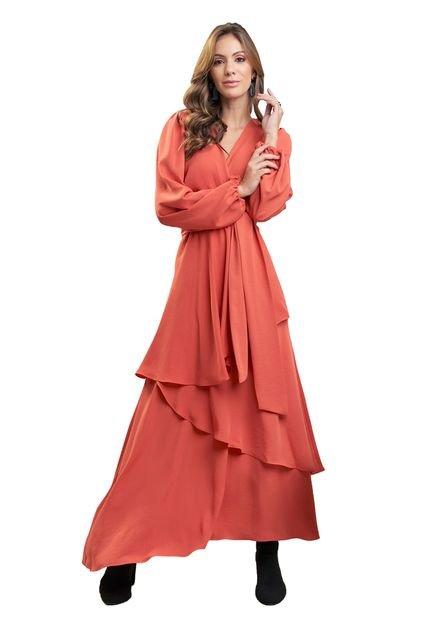 MX Fashion Vestido MX Fashion Mangas Longas com Babados Lucia Coral tV1OL