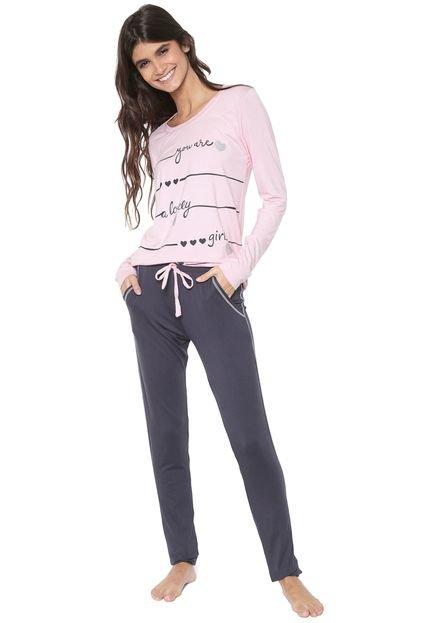 Menor preço em Pijama Any Any Estampado Rosa/Grafite