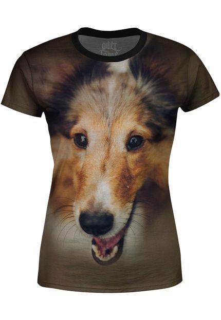 Over Fame Camiseta Baby Look   Collie Over Fame Marrom U6MVC