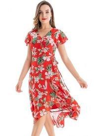 Vestido Envolvente Floral Rojo Nicopoly