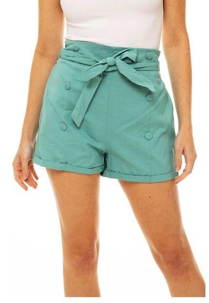 SOB Shorts Sob em Algodão Cintura Alta Soltinho com Bolsos e Botões Verde 9yEnN