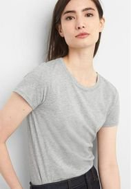 Polera Cuello Redondo Basica Mujer Gris Gap