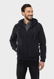 Sweater Capucha Sherpa Azul Arrow