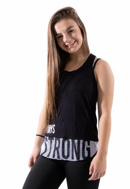 4 Estações Regata Strong Fitness 4 Estações Liso Feminino Preto t9RvY