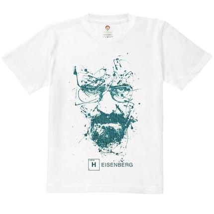 Nerderia Camiseta Kids Nerderia Heisemberg Splash Branco ILrax