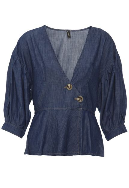 dimy Blusa Jeans dimy Transpassada Azul 3tCXQ