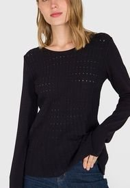 Sweater iO Peplum Negro - Calce Ajustado