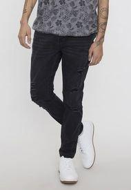 Jeans Skinny Roturas Negro - Hombre Corona