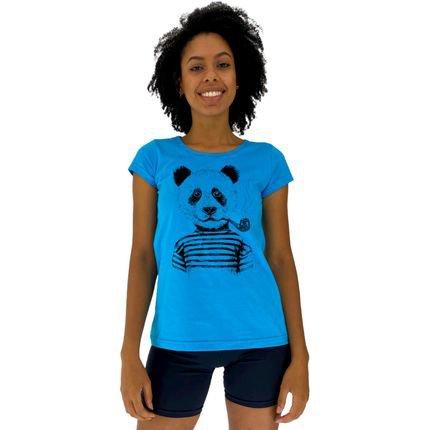 Alto Conceito Camisa Babylook Alto Conceito Panda Com Cachimbo Azul Piscina EtdXH