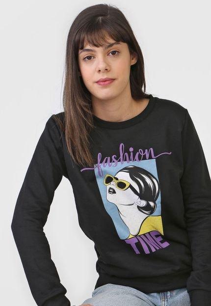 FiveBlu Moletom Flanelado Fechado FiveBlu Fashion Preta YvkUD