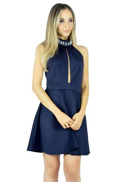 Liage Vestido Liage Curto Liso Frente Única Gola Bordada com Pedras Transparentes Azul Marinho / Navy yQu7R