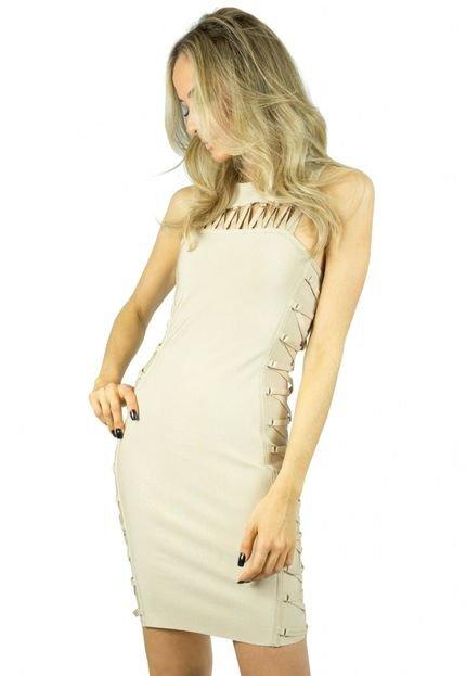 Liage Vestido Liage Curto Liso Lace-Up Bandagem Nude LryWG