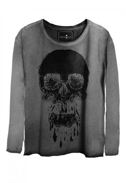Skull Lab Camiseta Manga Longa Skull Lab Caveira  Cinza JpVGN
