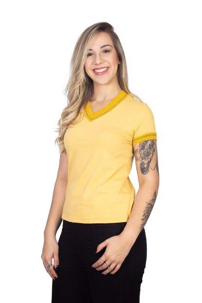 4 Ás Camiseta 4 Ás Amarela Manga Curta Sanfonada JmAd4