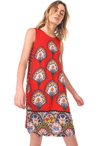 Desigual Vestido Desigual Curto Vento Vermelho i09l2
