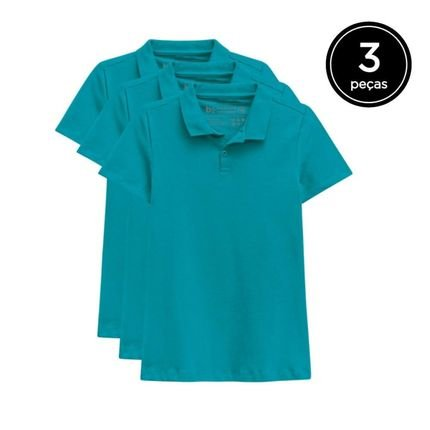 Basicamente. Kit Basicamente. 3 Camisas Polo Verde XPFKp