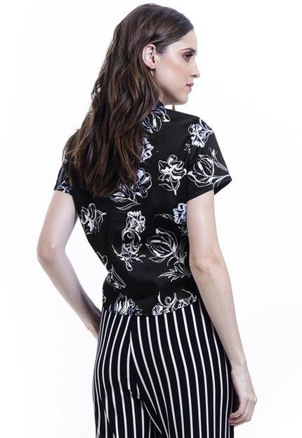 101 Resort Wear Camisa 101 Resort Wear de Amarrar Tricoline Floral Estampada Preto