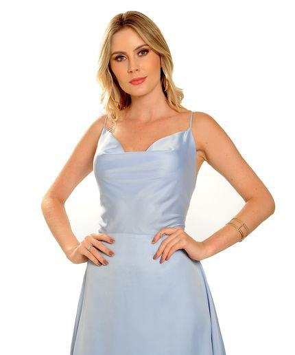 Estilo K Vestido Estilo K Longo Joice Azul