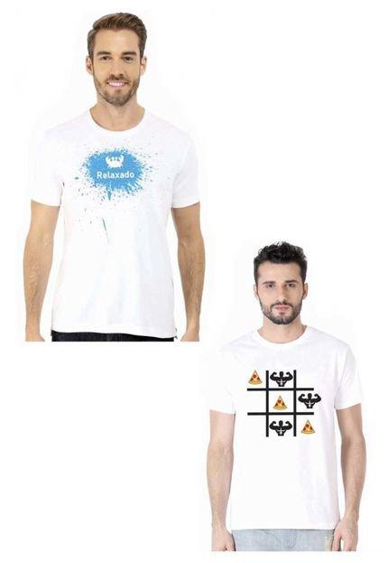 Kit Camiseta Manga Curta Relaxado DE Branco/Branco