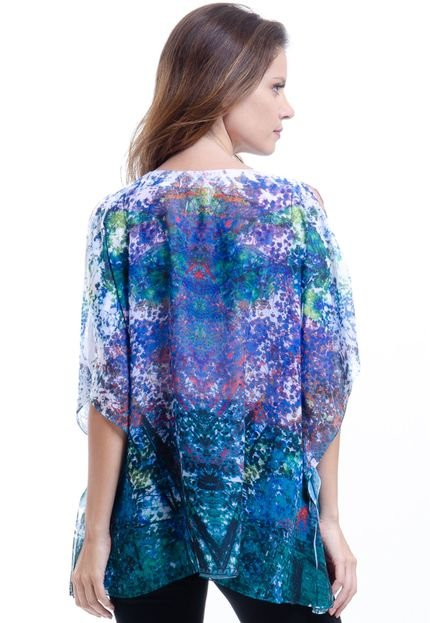 101 Resort Wear Blusa 101 Resort Wear Ponch Tunica Decote V Estampada Azul