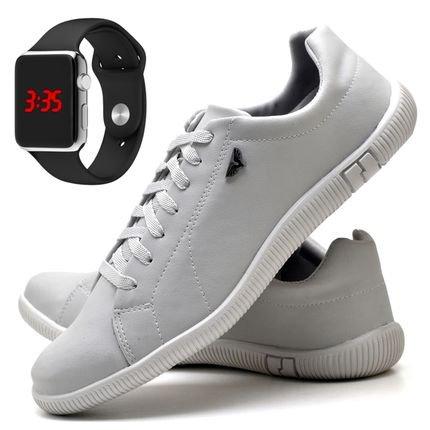 DUBUY Kit Sapatênis Sapato Casual Com Relógio LED Silver DUBUY 900DB Branco rDGIK