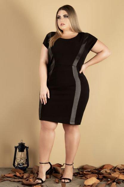 Miss Peck Vestido com recorte Donna Peck Inverno Preto 4GXGU
