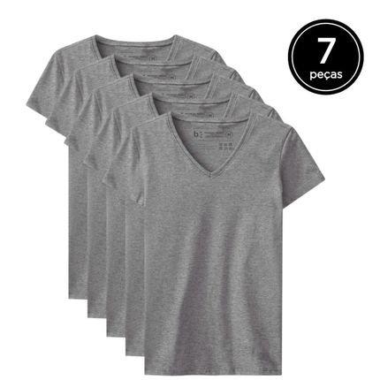 Basicamente. Kit de 7 Camisetas Basicamente. Babylook Básicas Gola V Cinza R32fA