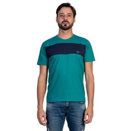 Camiseta Listrada Casual Masculina Tattooing Verde