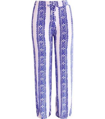 Pau a Pique Calça Pau a Pique Pantalona estampada Azul 2f8tg