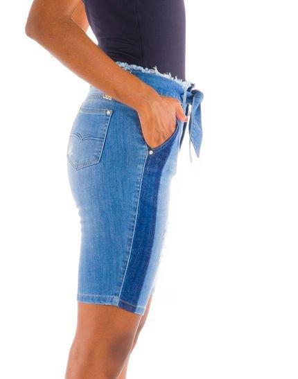 Loony Bermuda Ciclista Jeans Com Reserva Jeans Azul